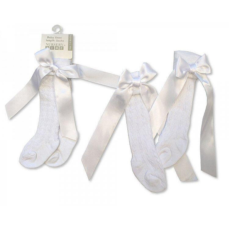 Nursery Time White Knee Length Bow Socks