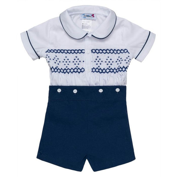"Aurora Royal ""Nicky"" White and Navy Blue Hand-Smocked Buster Suit *Limited Edition*"