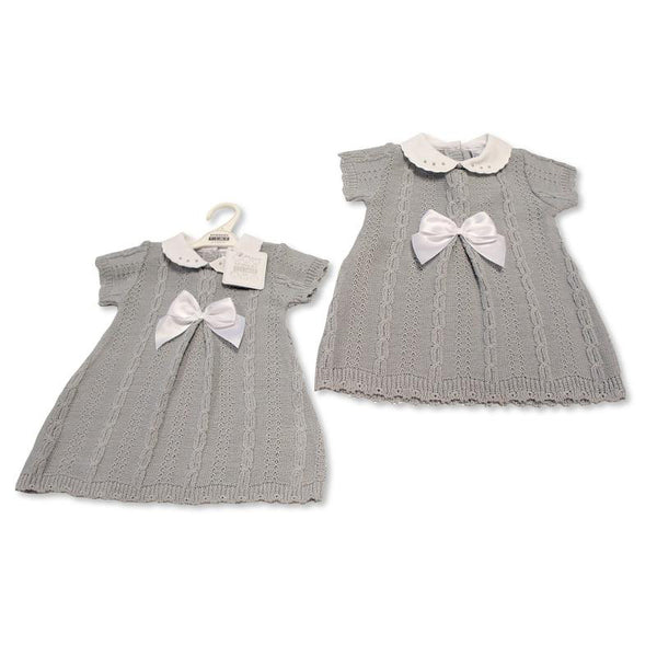 Nursery Time Knitted Cable and Bow Dress