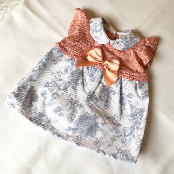 Nursery Time Dusky Pink Floral Dress with Bow