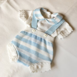 Baby Boys Striped Knitted 2 Piece Dungaree Set