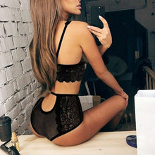 Laden Sie das Bild in den Galerie-Viewer, Lace Bra Panty Set Lingerie - playsuite