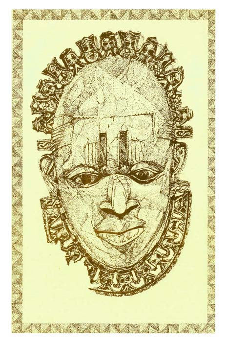 "Drawing by Del of ""The Queen Mother Pendant Mask: Iyoba,"" Benin, 16th century"