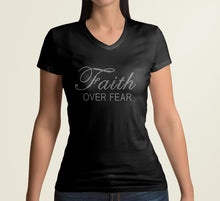 Load image into Gallery viewer, Black fitted Faith t-shirt with Faith Over Fear in Custom Rhinestone Design.