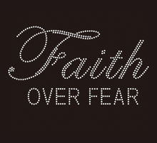 Load image into Gallery viewer, TaylorTee Women's Faith Over Fear Custom Rhinestone Design Black Tee
