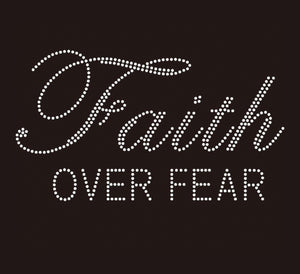 TaylorTee Women's Faith Over Fear Custom Rhinestone Design Black Tee