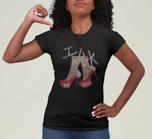 "Jesus Apparel- Black fitted tee with ""I Walk By Faith"" in Custom Rhinestone Design."