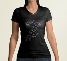 "Load image into Gallery viewer, Best Christian T-shirts- Black fitted tee with ""Let Go & Let God"" in Custom Rhinestone Design."