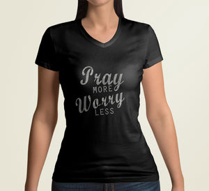 TaylorTee Women's Pray More Worry Less Custom Rhinestone Design Tee