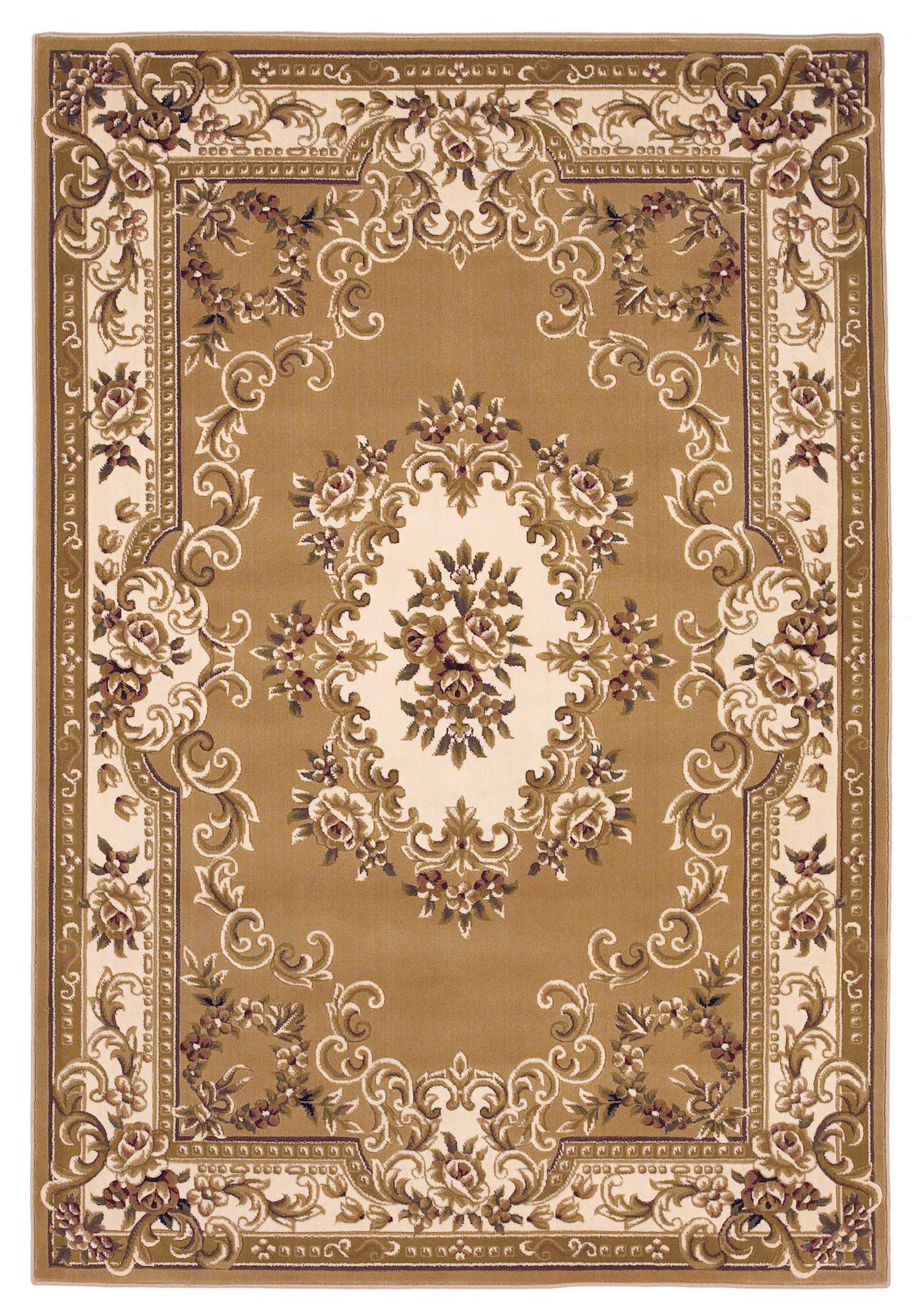 "3'3"" x 4'11"" Beige Ivory Aubusson Area Rug"