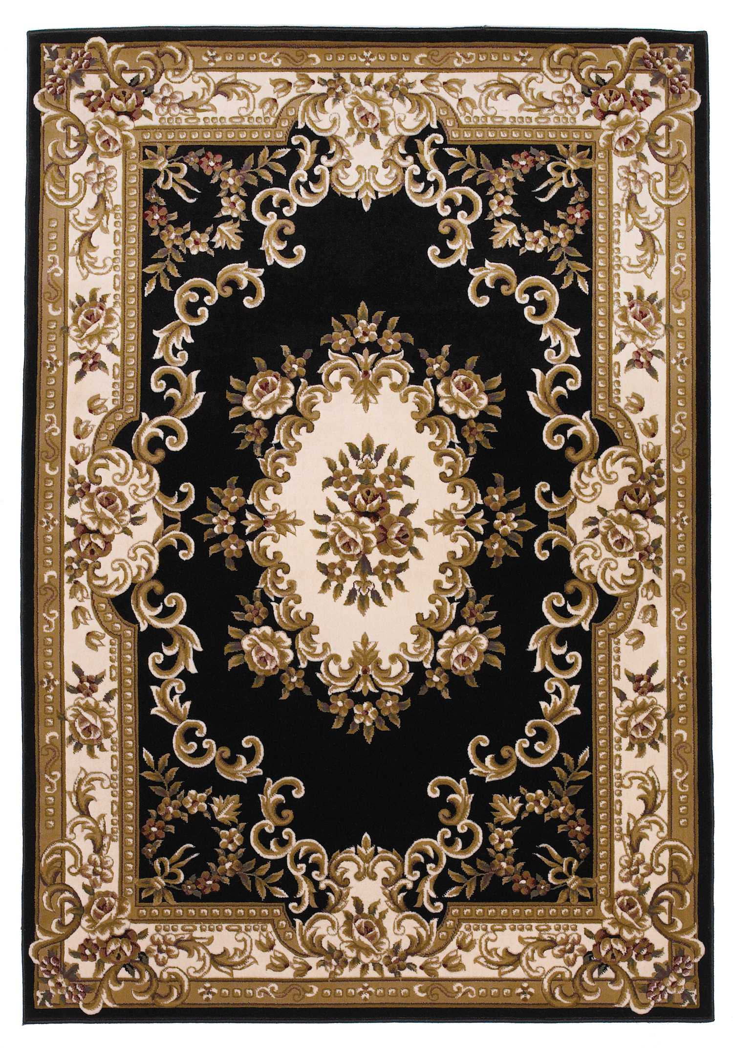 "3'3"" x 4'11"" Black and Ivory Aubusson Area Rug"