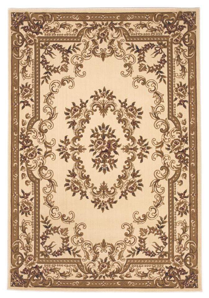 "3'3"" x 4'11"" Ivory Aubusson Area Rug"