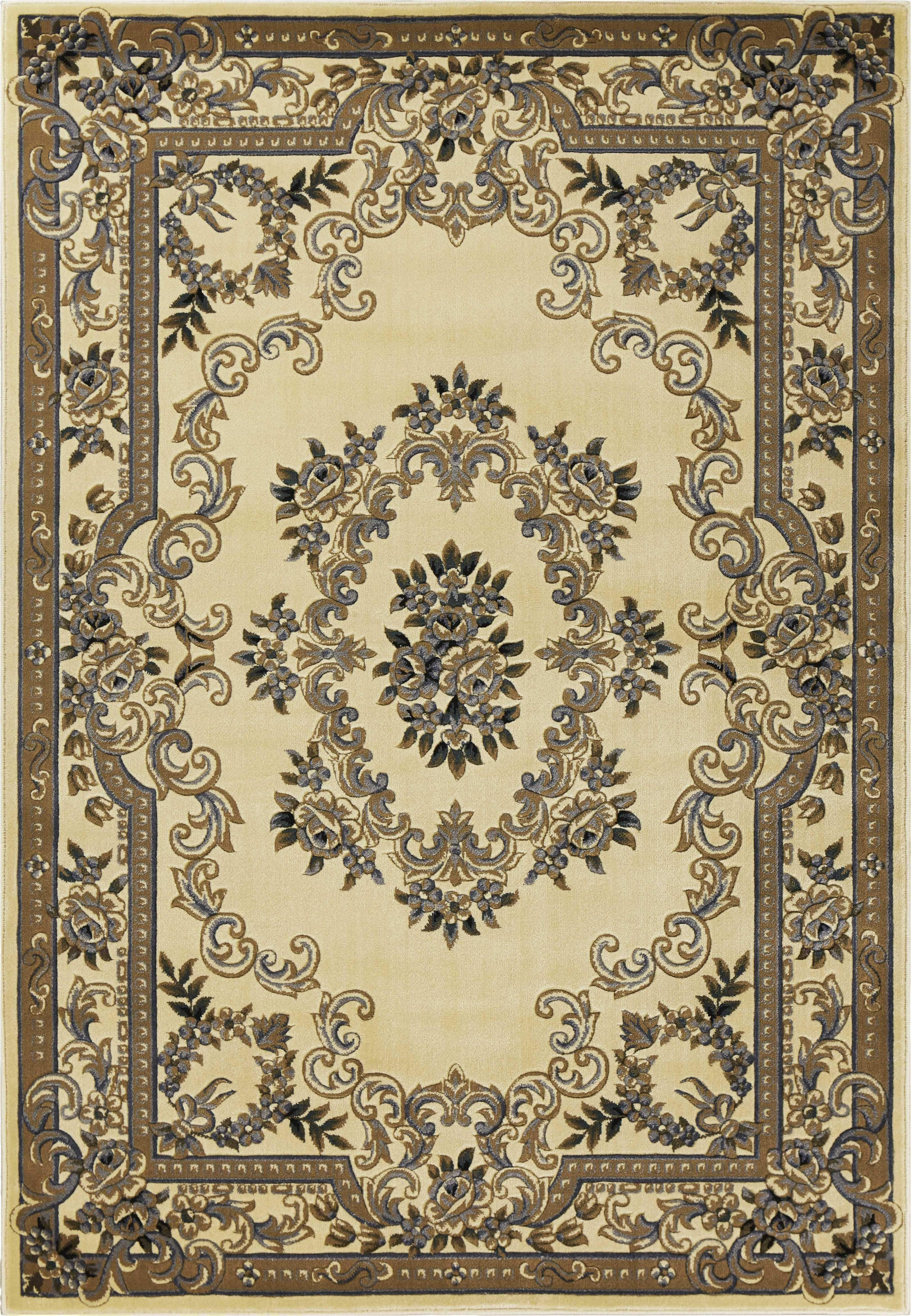 "3'3"" x 4'11"" Ivory Blue Aubusson Area Rug"