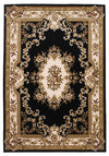 "5'3"" x 7'7"" Aubusson Black Ivory Area Rug"