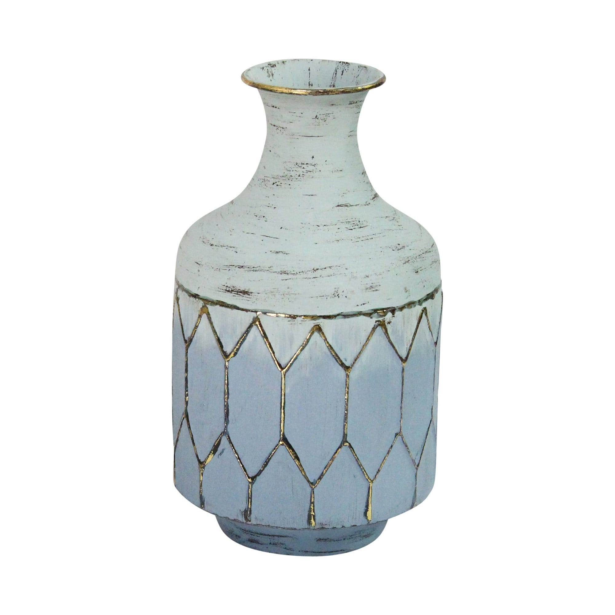Blue Gold Metal Vase