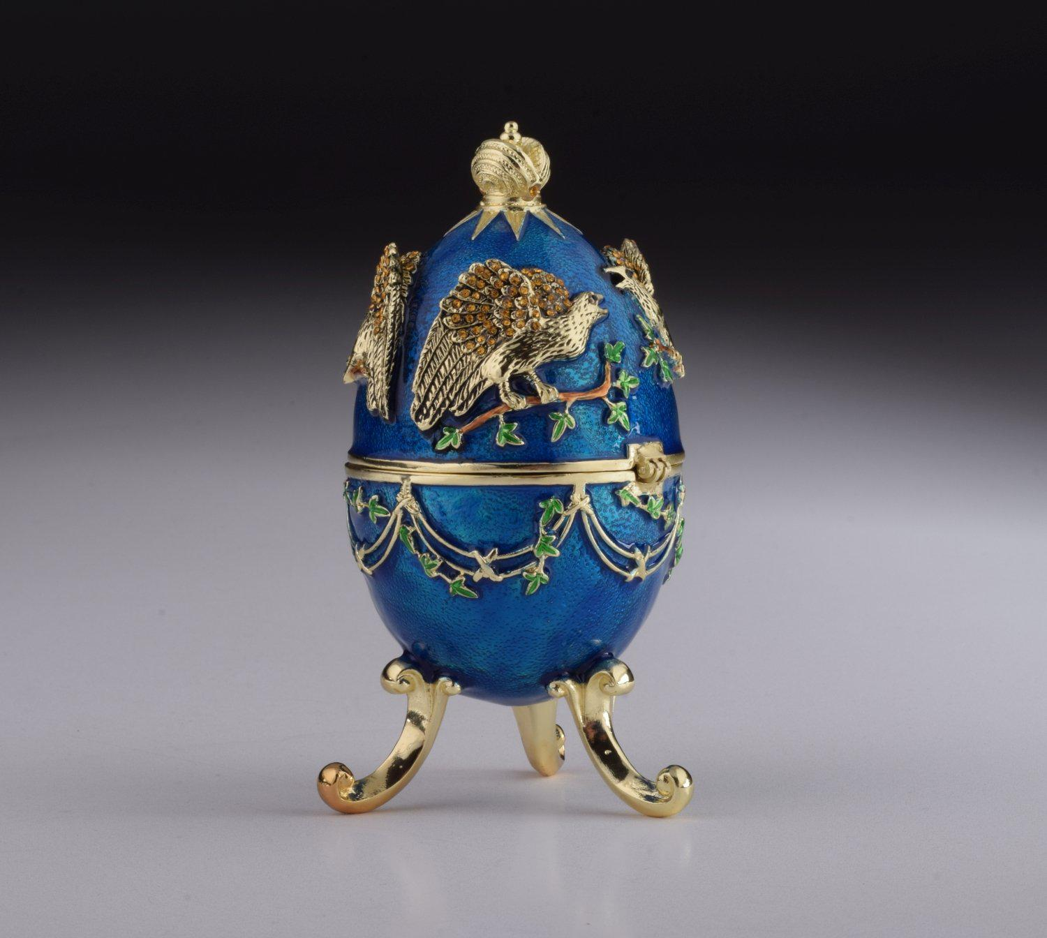 Blue Faberge Egg With Eagles - Plays Music