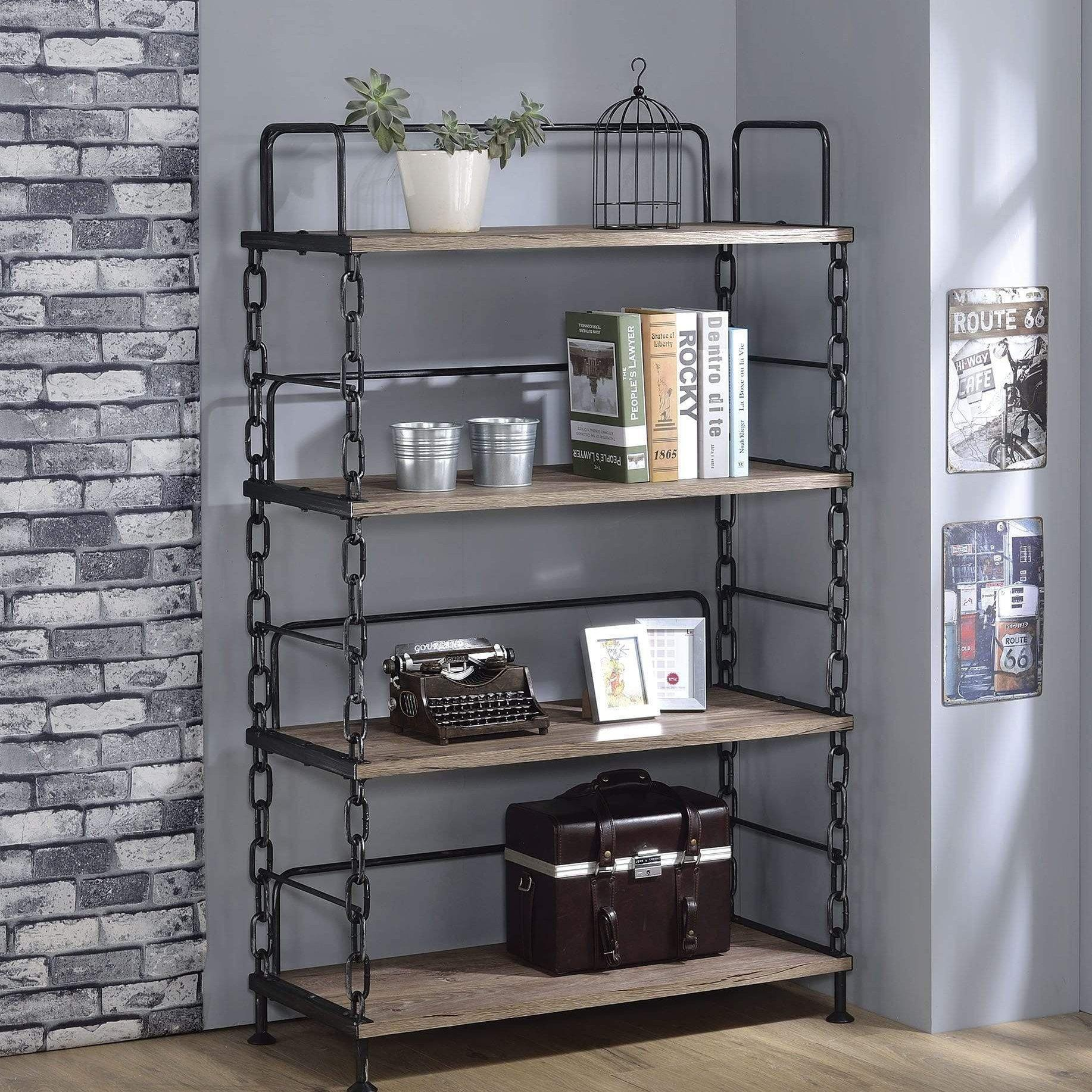 Antique Oak and Black Bookcase