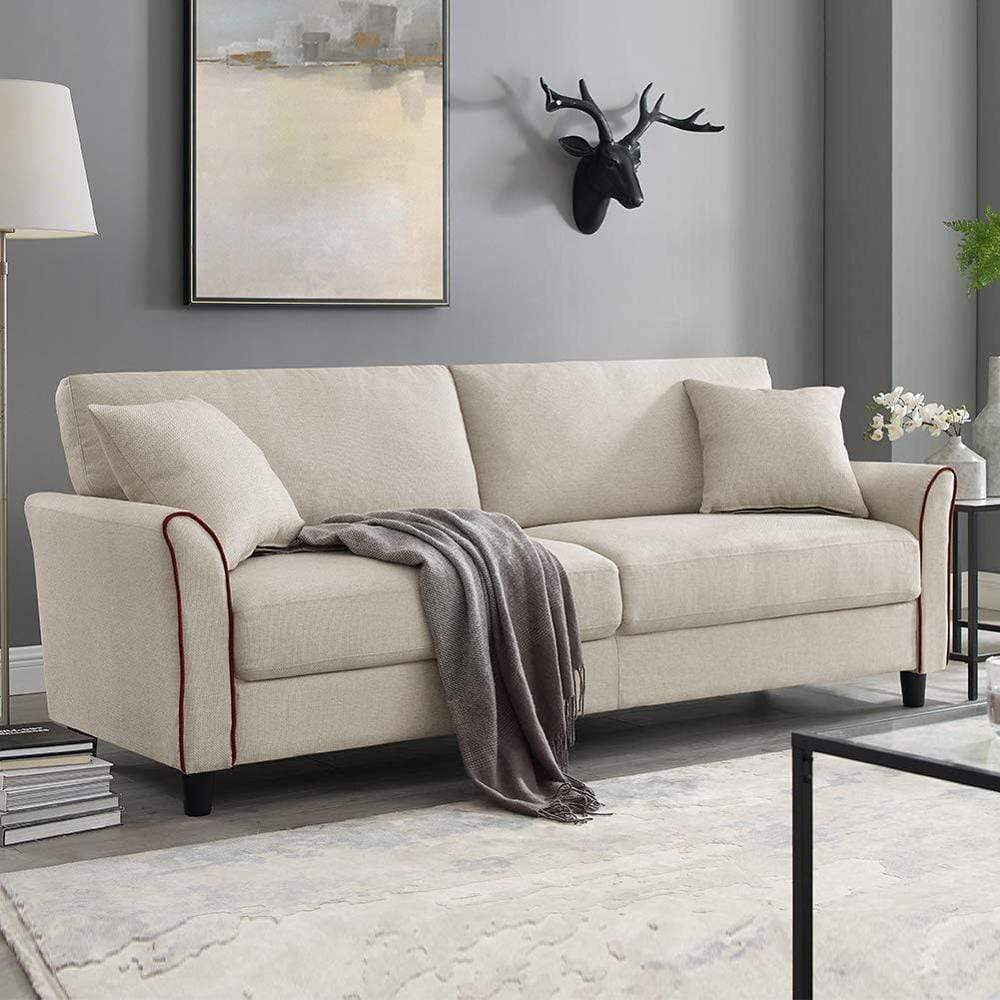 Beige Sectional Fabric Sofa