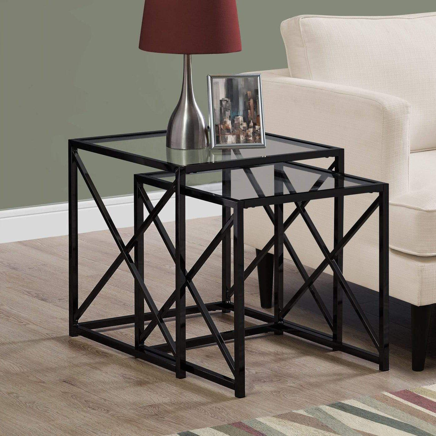 Black Nickel Metal and Tempered Glass End Table