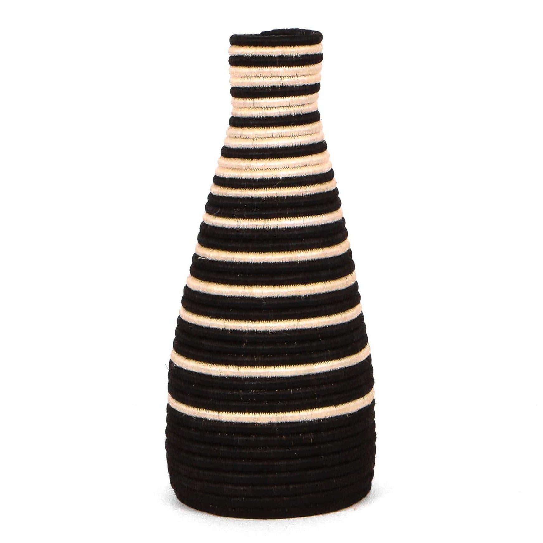 Black Striped Tall Vase