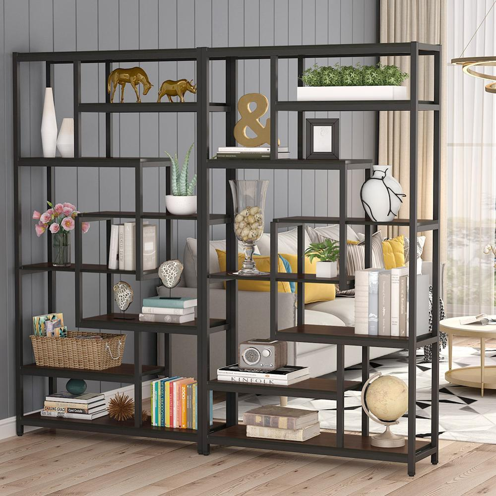 Bookcase with Staggered Shelves Industrial Design