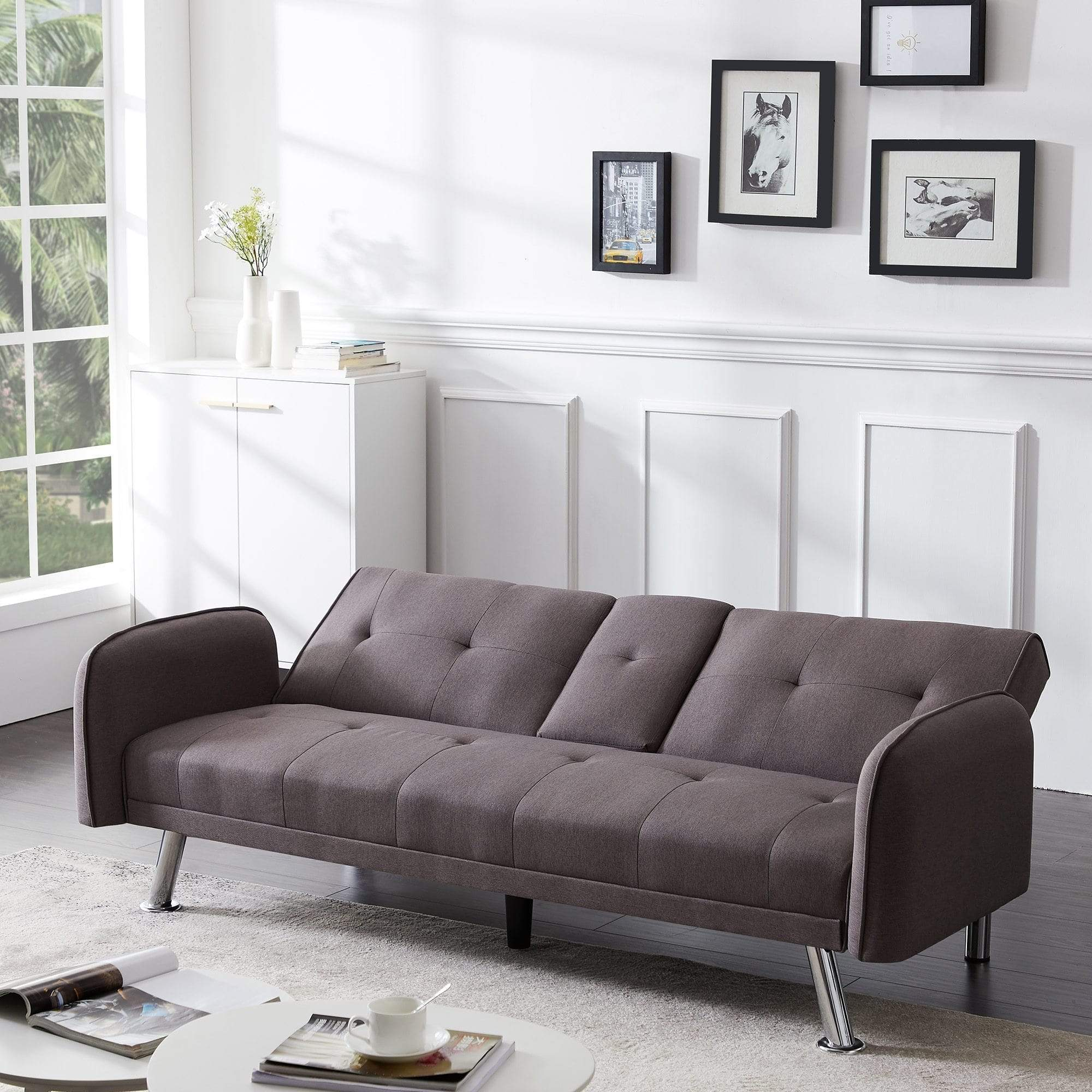Brown Sofa Bed with Cupholders | sofa bed | movable armrests | convertible sofa | futon sofa | living room furniture | sofa with cup holder | sofa | furniture