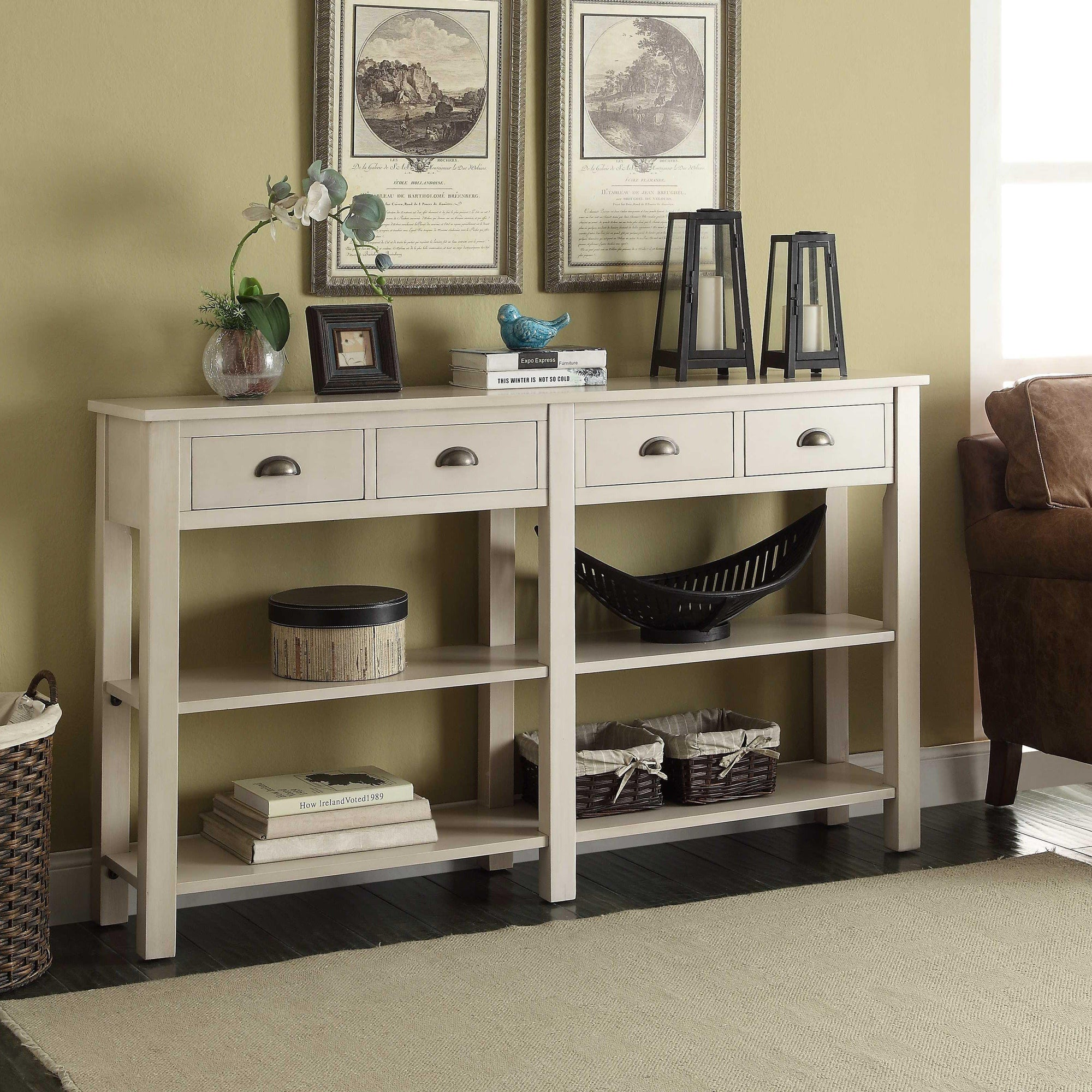Cream Wooden Accent Table