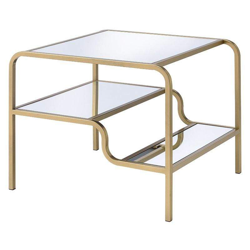 Gold and Glass End Table