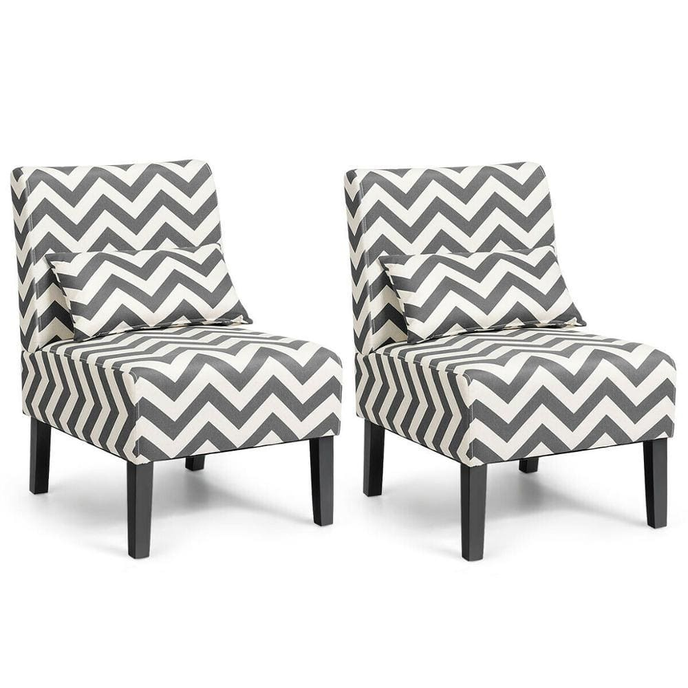 Gray Chevron Accent Chair with Lumbar Pillow