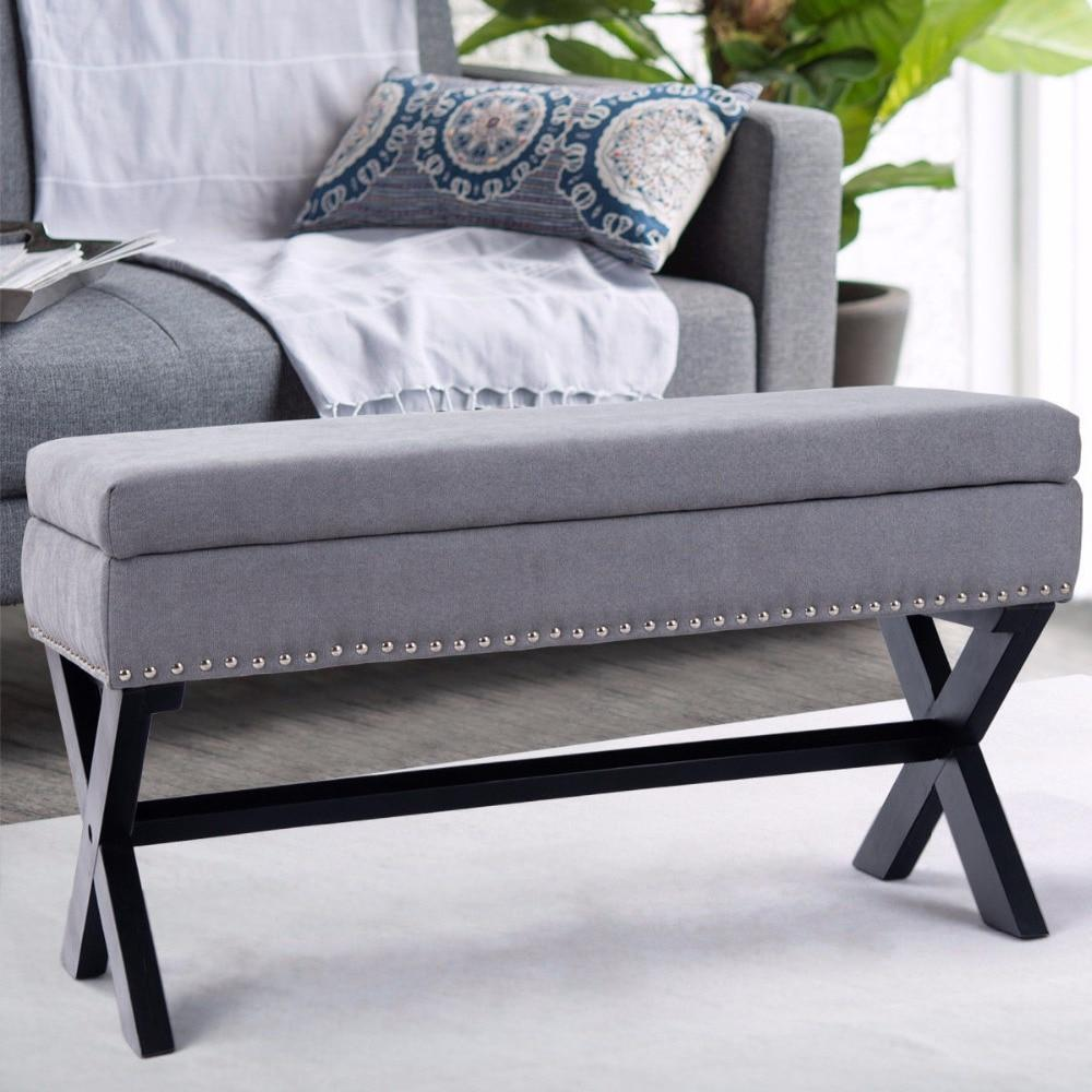 Gray Entryway Bench With Storage