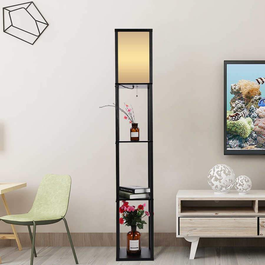 Modern Oak Floor Lamp With 3 Shelves