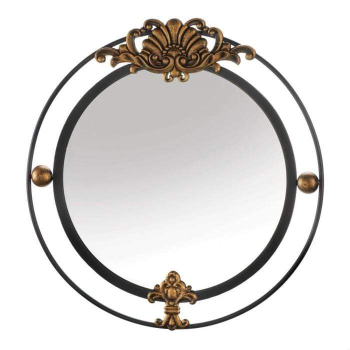 Round Metal Wall Mirror with Flourish Accents
