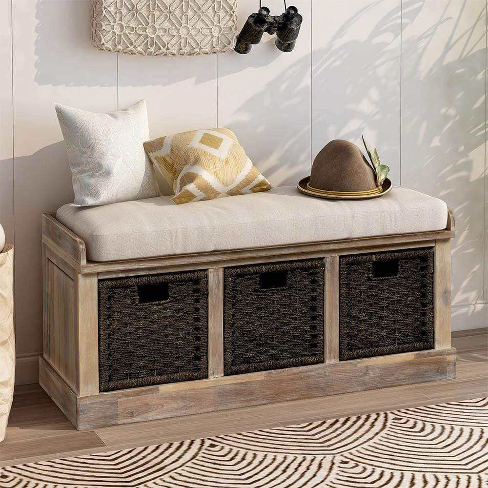 Rustic Entryway Bench with Storage
