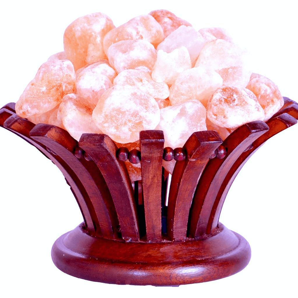 Salt Lamp in Rosewood Flower Basket