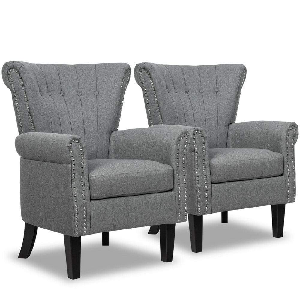 Set of 2 Gray Fabric Accent Chair