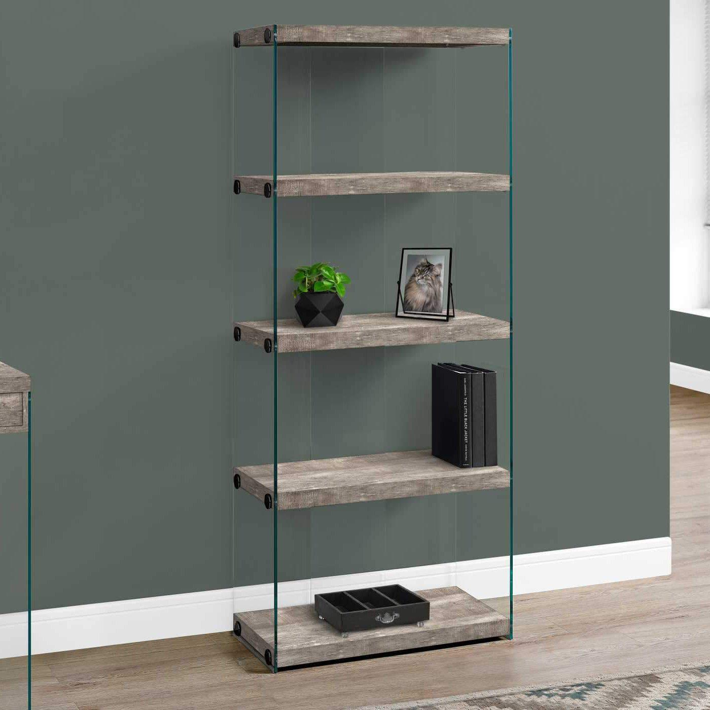 Taupe Reclaimed Wood Bookcase