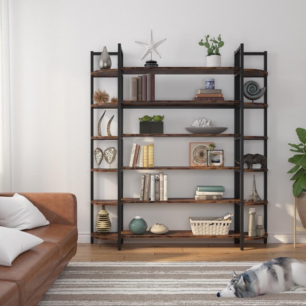 Triple Wide 6-Shelf Bookcase