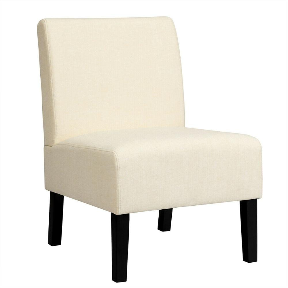 White Accent Chair With Rubber Wood Legs