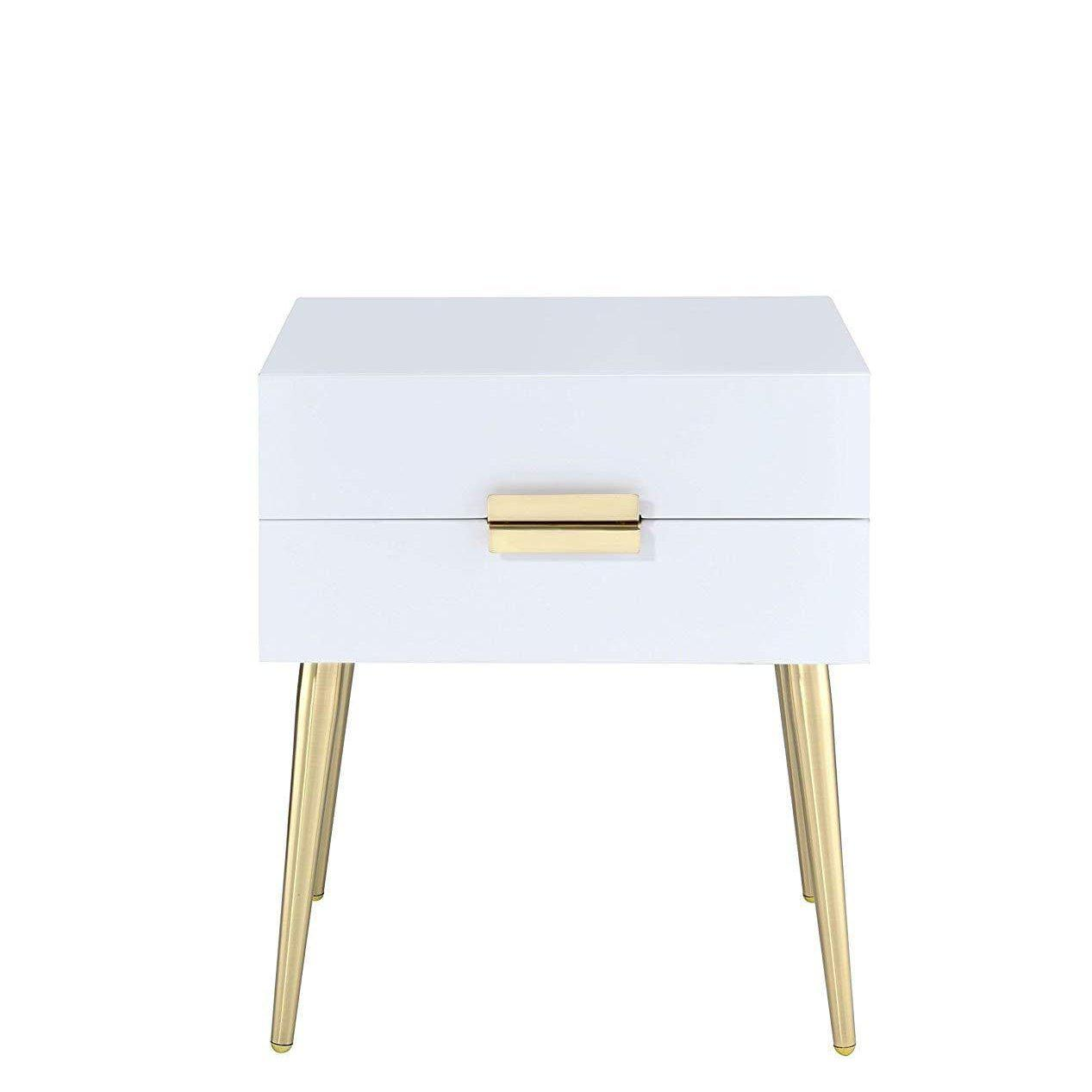 White And Gold Metal End Table