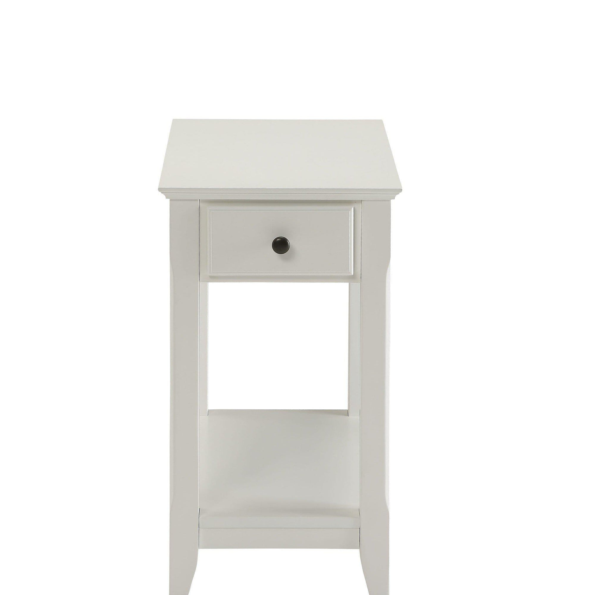 White Veneer Side Table
