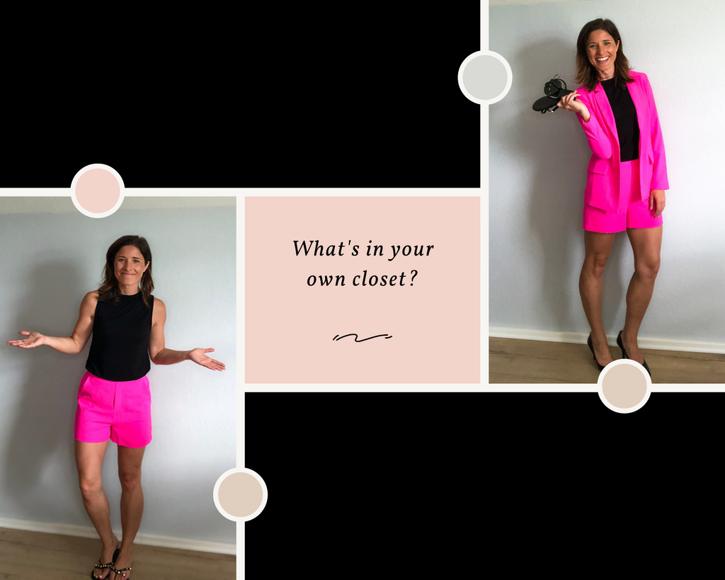 Ultra Pink Blazer and Ultra Pink Dress Shorts paired with a simple black tank top.