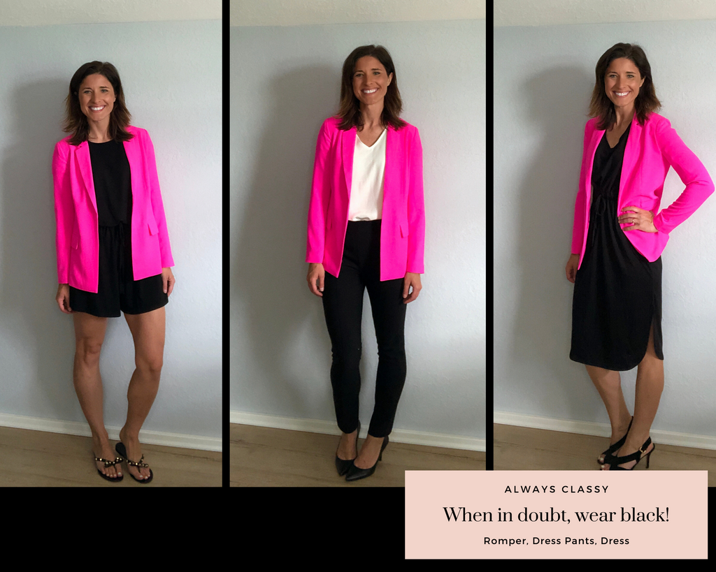 Ultra Pink Blazer and Ultra Pink Dress Shorts paired with black romper, black dress pants, and black dress.