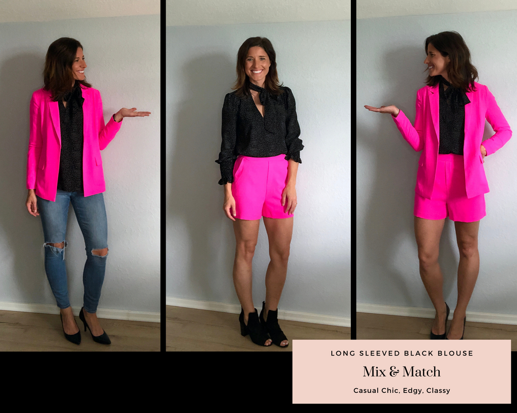 Three ways to wear a pink blazer set with a long sleeved black blouse.