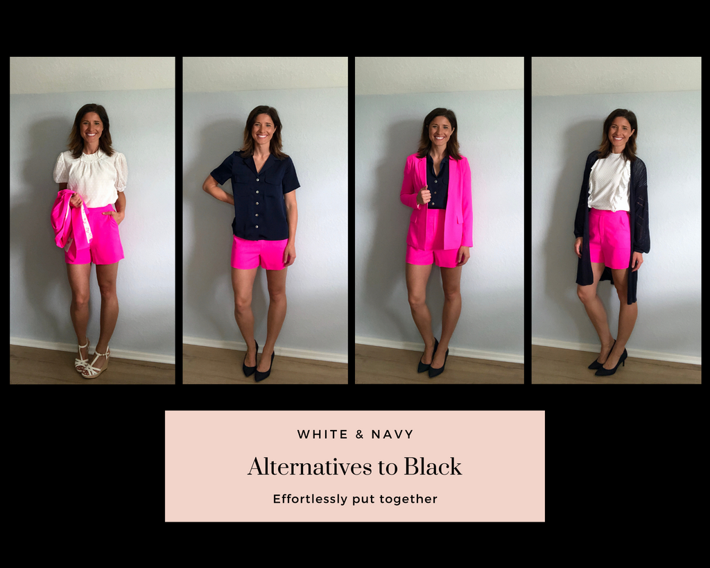 Ultra Pink Blazer and Ultra Pink Dress Shorts paired with navy and white pieces.