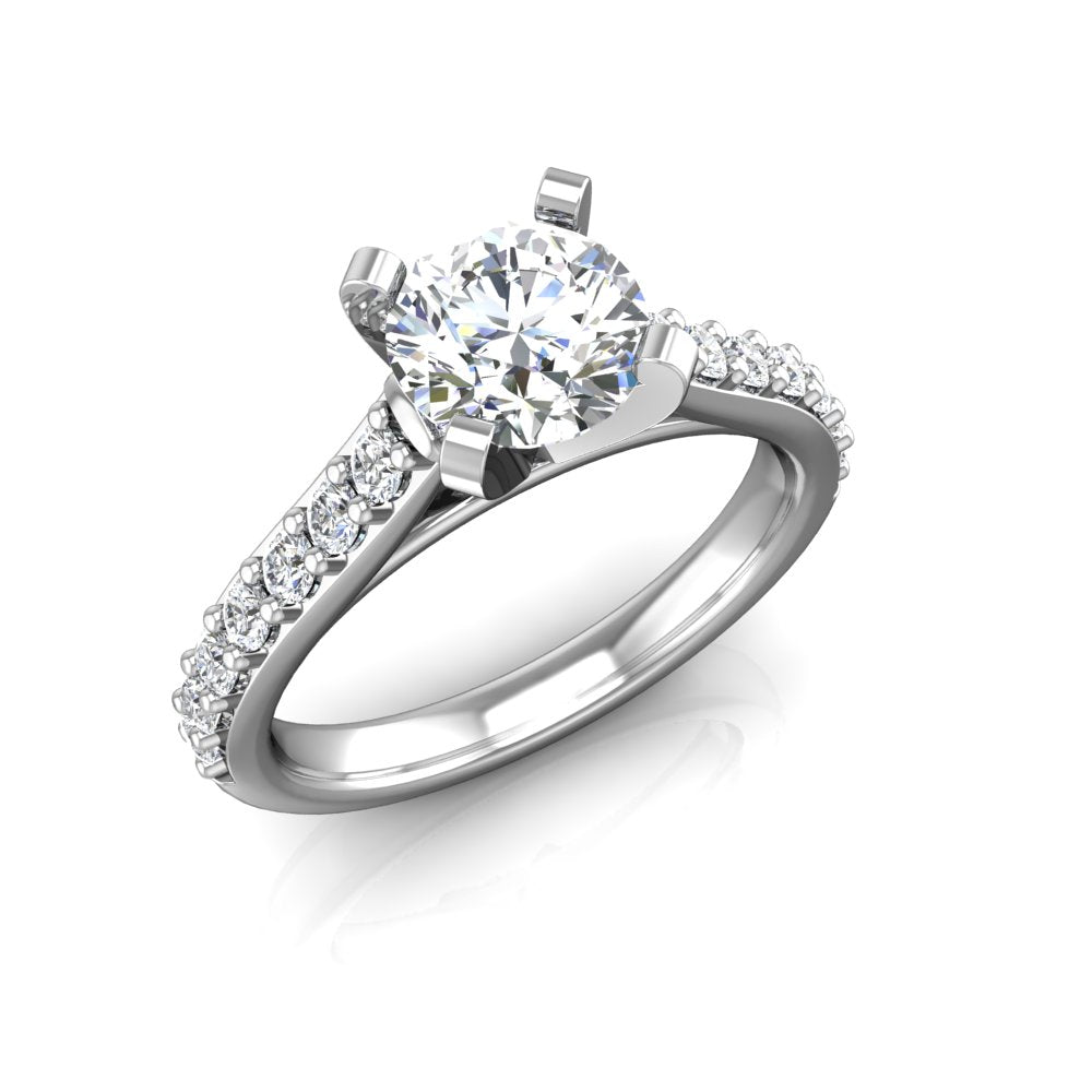 ER-1BS2 Bead Set Cathedral Engagement Ring 3/8 Carat TDW