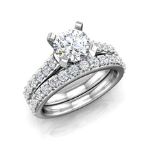 Load image into Gallery viewer, ER-1BS2 Bead Set Cathedral Engagement Ring 3/8 Carat TDW