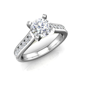 ER-4CH2 Channel Set Cathedral Engagement Ring 3/8 Carat TDW