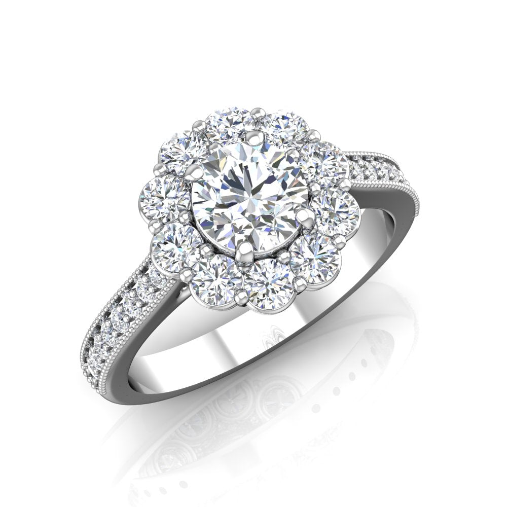 LE349 Round Engagement Ring 3/4  Carat TDW
