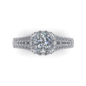 LEE-1208 Cushion Cut Engagement Ring 1/2  Carat TDW
