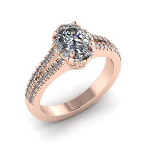 LEE-1210 Oval Engagement Ring 1/2 Carat TDW